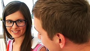 This four-eyed beauty doesn't know yet what does it mean the sex with her tutor... Maybe she didn't have sexual relationship with guys till this day... Well - she has a chance- her home teacher is ready to give her a good lesson of fucking - he will learn