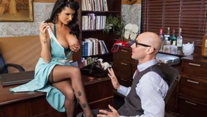 It's the 1950s, and Ms. Rain is the powerful head of an ad agency. She's a fast-talking tough guy, and she's had a late night. She waltzes into work hours late, and all she wants is for Johnny to worship her big tits like a good little office clerk.