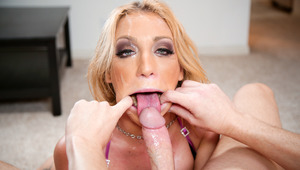Filthy blonde Amy Brooke takes load deep down her throat !