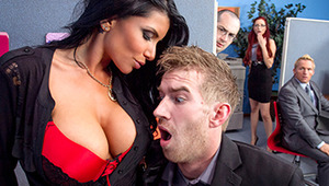 Romi Rain rules over her office with an iron fist. When an employee is caught slacking, she makes an example out of them. But when Danny D complains to management, Romi's told to make her employees like her or else she'll be fired! The first thing the bus