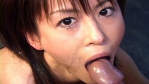 Horny Japanese babe Ai Himeno in swimsuit is giving a hot and horny blowjob here. She tenderly play with the man cock, sucks it like a candy and wait for the big load. A must see!