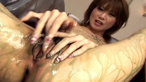 Multiple hands are all over Rika Sakurai. She has multiple toys in her ass and pussy at the same time, with a bunch of hands rubbing her body with oil and paint. She enjoys having more than five different hands on her and both holes fucked hard.