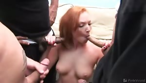 Four new friends and one nasty sexual adventure... What better way to welcome the new babe to Cali-porn-ia? It's time to show her the ropes and stretch those holes! Her raw pink tissues matched her bright red hair when we got through with her!