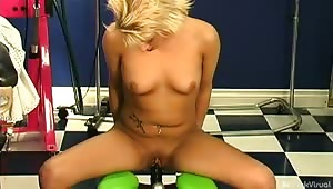 """Sexy Amber had """"toys"""" before, but not from our toybox! She squirmed and moaned on the frog squat as a warmup and orgasmed hardcore on the Alien Probe! Pleasure tech was never this good!"""